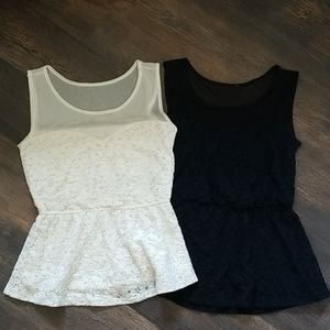 2 peplum lace and sheer tops
